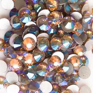 SS30/6mm Light Topaz AB Glass Round Flat Back Loose Rhinestones - 288pcs