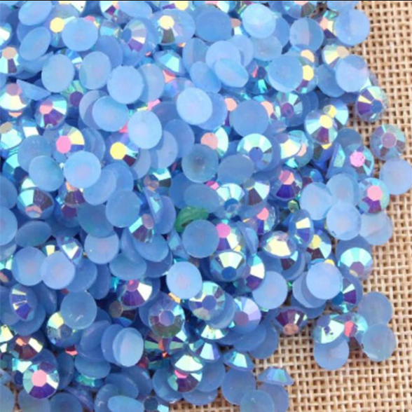 5mm Light Sapphire Blue AB Jelly Resin Round Flat Back Loose Rhinestones