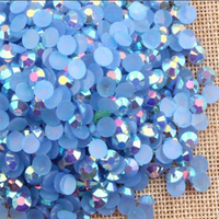 3mm Light Sapphire Blue AB Jelly Resin Round Flat Back Loose Rhinestones