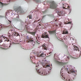 18mm Light Pink Glass Round Pointback Chatons Rhinestones - 10pcs