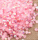 4mm Pink AB Jelly Resin Round Flat Back Loose Rhinestones