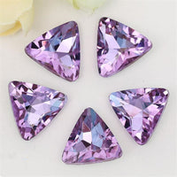14mm Light Purple Glass Triangle Pointback Chatons Rhinestones - 10pcs