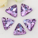 18mm Light Purple Glass Triangle Pointback Chatons Rhinestones - 10pcs