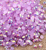 4mm Light Purple AB Jelly Resin Round Flat Back Loose Rhinestones