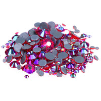 Mixed Light Siam Red AB Glass Round Flat Back Loose HOTFIX Rhinestones - 400pcs