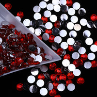 4mm Medium Siam Red Resin Round Flat Back Loose Rhinestones