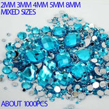 1,000pcs Dark Aqua Blue Mixed Shape Flatback Acrylic Rhinestones - Decoden, DIY Phone Case, Crystals, Nail Art - TheDecoKraft