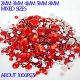 1,000pcs Red Mixed Shape Flatback Acrylic Rhinestones - Decoden, DIY Phone Case, Crystals, Nail Art - TheDecoKraft