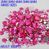 1,000pcs Dark Pink Rose Mixed Shape Flatback Acrylic Rhinestones - Decoden, DIY Phone Case, Crystals, Nail Art - TheDecoKraft