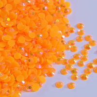 2mm Bright Orange AB Jelly Resin Flat Back Round Loose Rhinestones