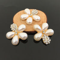 2 Piece Pearl Flower Rhinestones Gold or Silver Setting Bling Alloy Flatback Cabochons (TDK-B1056)