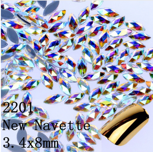 Mixed Clear AB Glass New Navette Shape Flat Back Loose HOTFIX Rhinestones - 144pcs