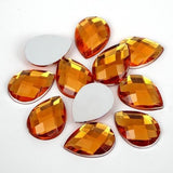 25 Piece 13x18mm ORANGE Teardrop Shape Acrylic Flatback Rhinestones (TDK-R1633) - TheDecoKraft