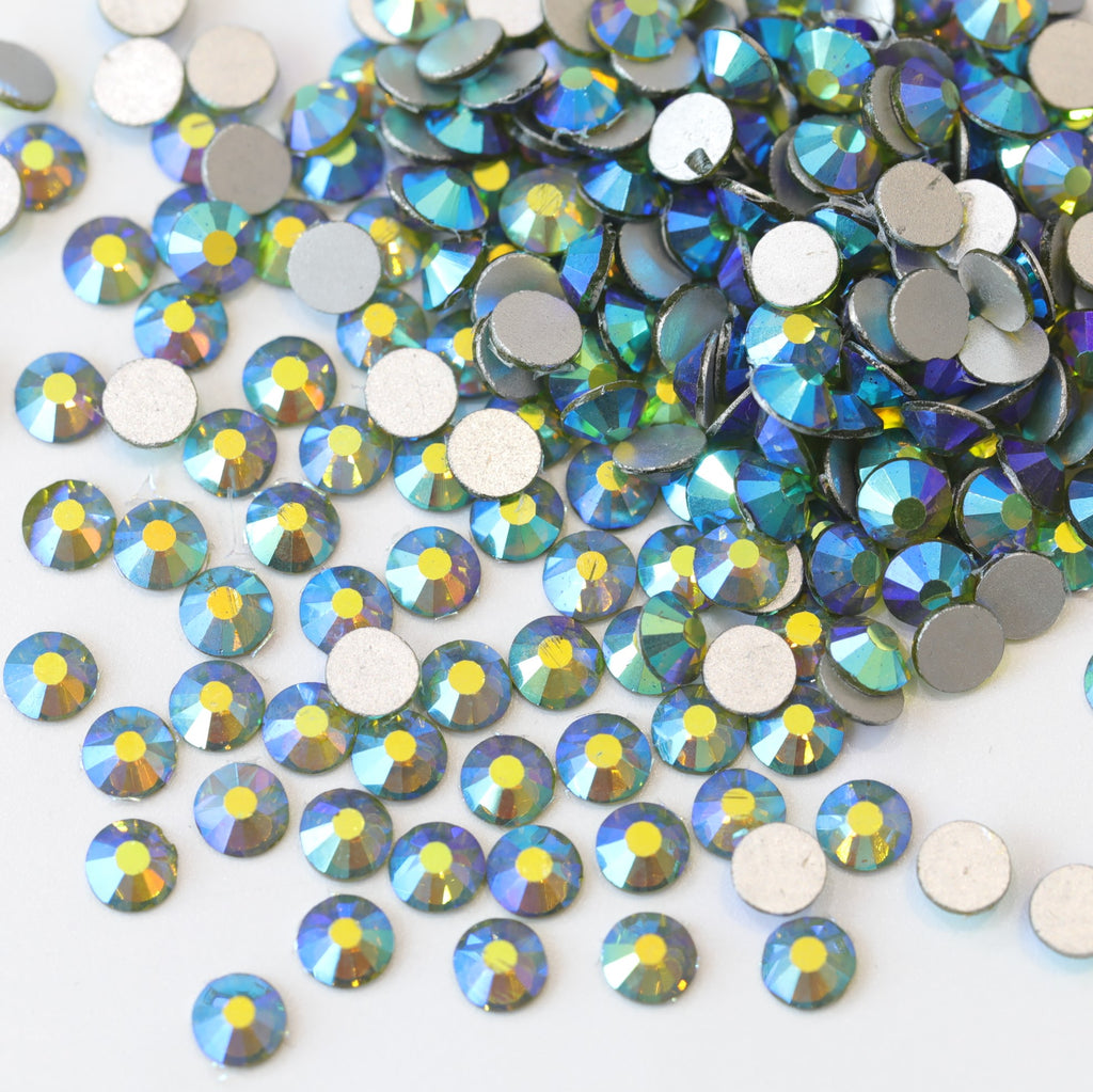 SS6/2mm Olive AB Glass Round Flat Back Loose Rhinestones - 1440pcs