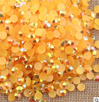 2mm Orange AB Jelly Resin Flat Back Round Loose Rhinestones