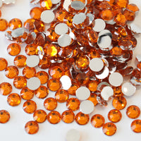 4mm Orange Resin Round Flat Back Loose Rhinestones