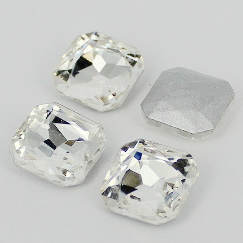 18mm Clear Glass Square Pointback Chatons Rhinestones - 10pcs