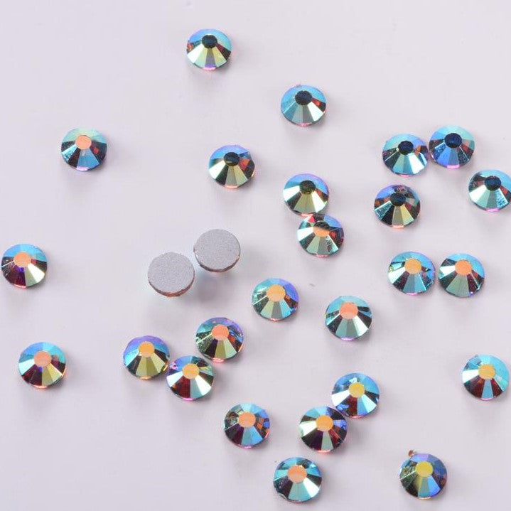 SS12/3mm Blue Shadow Crystal AB Glass Round Flat Back Loose Rhinestones - 1440pcs