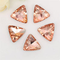 14mm Peach Glass Triangle Pointback Chatons Rhinestones - 10pcs