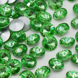 14mm Light Green Glass Round Pointback Chatons Rhinestones - 10pcs