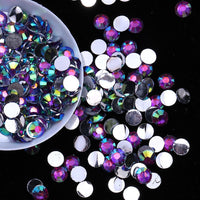 2-6mm Mixed Purple AB Resin Round Flat Back Loose Rhinestones