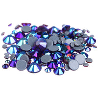 Mixed Amethyst Purple AB Glass Round Flat Back Loose HOTFIX Rhinestones - 400pcs