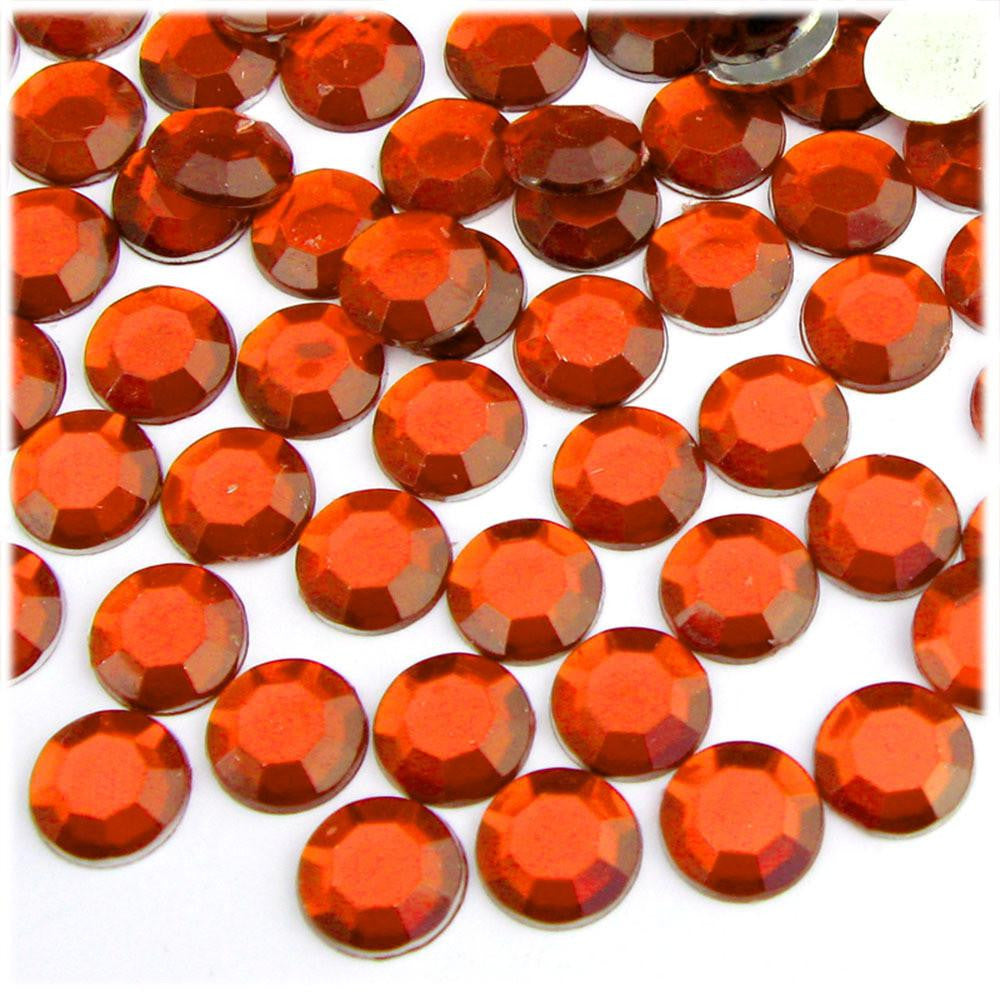 3mm Dark Orange Resin Round Flat Back Loose Rhinestones