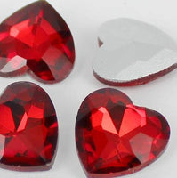 14mm Ruby Red Glass Heart Pointback Chatons Rhinestones - 10pcs