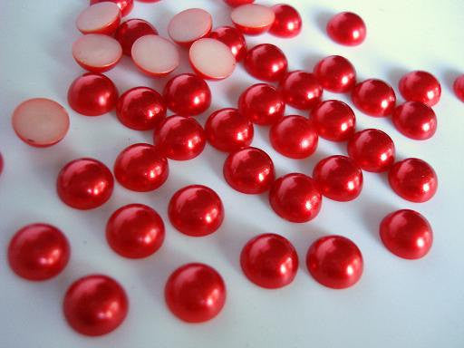 9mm Red Flatback Half Round Pearls - BULK 2,000 pieces - Loose, Bling, Nail Art, Decoden TDK-P035.1 - TheDecoKraft - 1