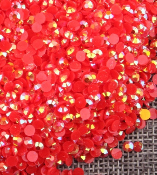 4mm Red AB Jelly Resin Round Flat Back Loose Rhinestones