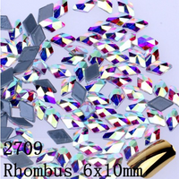 Mixed Clear AB Glass Rhombus Shape Flat Back Loose HOTFIX Rhinestones - 144pcs