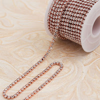 Clear Glass in Rose Gold Setting Rhinestone Cup Chain - 10 Yards