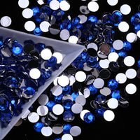 4mm Royal Blue Resin Round Flat Back Loose Rhinestones