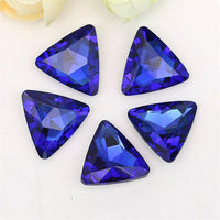 14mm Royal Blue Glass Triangle Pointback Chatons Rhinestones - 10pcs