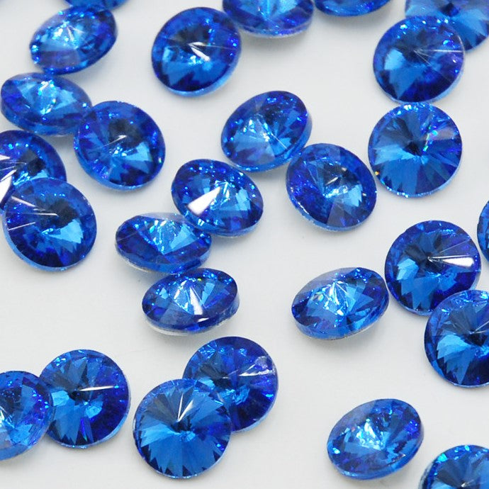 18mm Royal Blue Glass Round Pointback Chatons Rhinestones - 10pcs