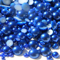 7mm Royal Blue Resin Round Flat Back Loose Pearls