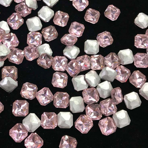 14mm Light Pink Glass Square Pointback Chatons Rhinestones - 20pcs