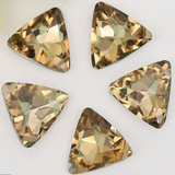 18mm Light Topaz Glass Triangle Pointback Chatons Rhinestones - 10pcs