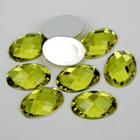 20 Piece 18x25mm Yellow Oval Acrylic Mosaic Flatback Shaped Rhinestones, Bling, Decoden (TDK-R1605) - TheDecoKraft