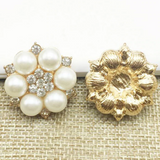 2 Piece Ivory Pearl Crystal Rhinestone Flower Flatback Button in a Silver or Silver Setting Bling Alloy Wedding Cabochons