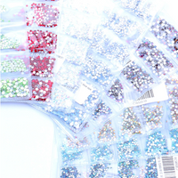 SS3-SS10/1-3mm Red Rainbow Glass Round Flat Back Rhinestones Mixed Set - 1680pcs