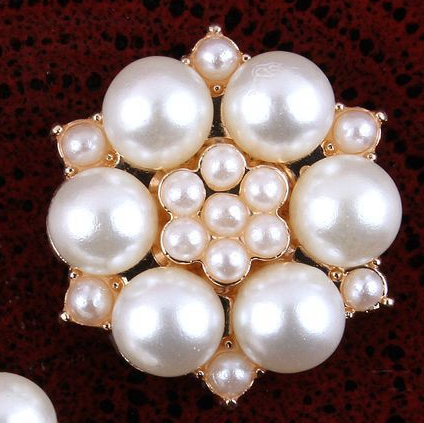 27mm Pearl Gold Flatback Buttons (NO SHANK) Embellishments Wedding Bridal Hair Accessory Flower Centers (TDK-B1261)