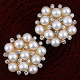 22mm Pearl Rhinestone Gold Flatback Buttons (NO SHANK) Embellishments Wedding Bridal Hair Accessory Flower Centers (TDK-B1264)