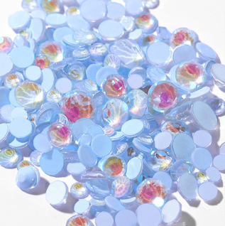 SS30/6mm Glow In the Dark Blue Glass Round Flat Back Loose Rhinestones - 288pcs