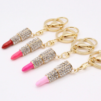 1 Piece Lipstick Makeup Rhinestone Gold Decoden Alloy Bling Cabochon DIY Phone Case Charm Accessories