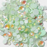 ss3/1mm Glow In the Dark Light Green Glass Round Flat Back Loose Rhinestones - 1440pcs