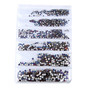 SS3-SS10/1-3mm Blue Rainbow Glass Round Flat Back Rhinestones Mixed Set - 1680pcs