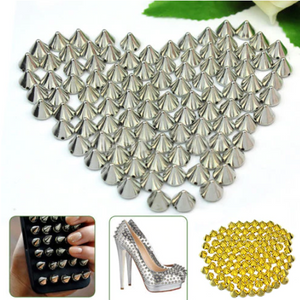 100 Piece (10 x 10mm) Metal Cone Shape Stud Spike Beads Rock Punk DIY Phone Decoration