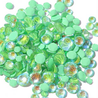 ss3/1mm Glow In the Dark Green Glass Round Flat Back Loose Rhinestones - 1440pcs
