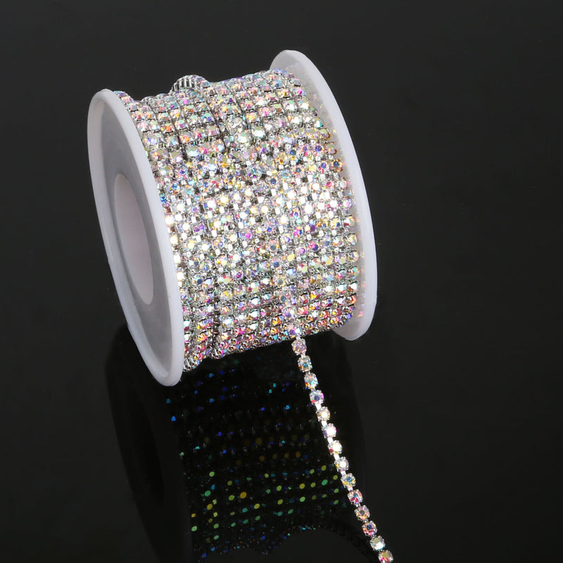 10 Yards Crystal AB Clear Glass in SILVER Setting Rhinestone Cup Chain  dc6c5d663e58